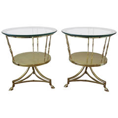 Pair of Brass Two-Tier Side Tables