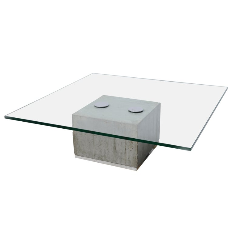 Charles Modern 47 Square Glass Top Coffee Table W: Saporiti Cantilevered Glass And Cement Cocktail Table At