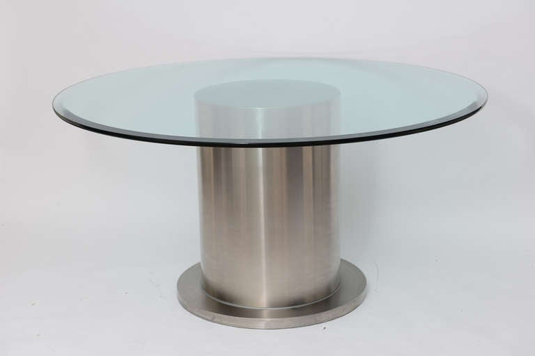 Steel drum dining center table at 1stdibs for 13 inch round glass table top