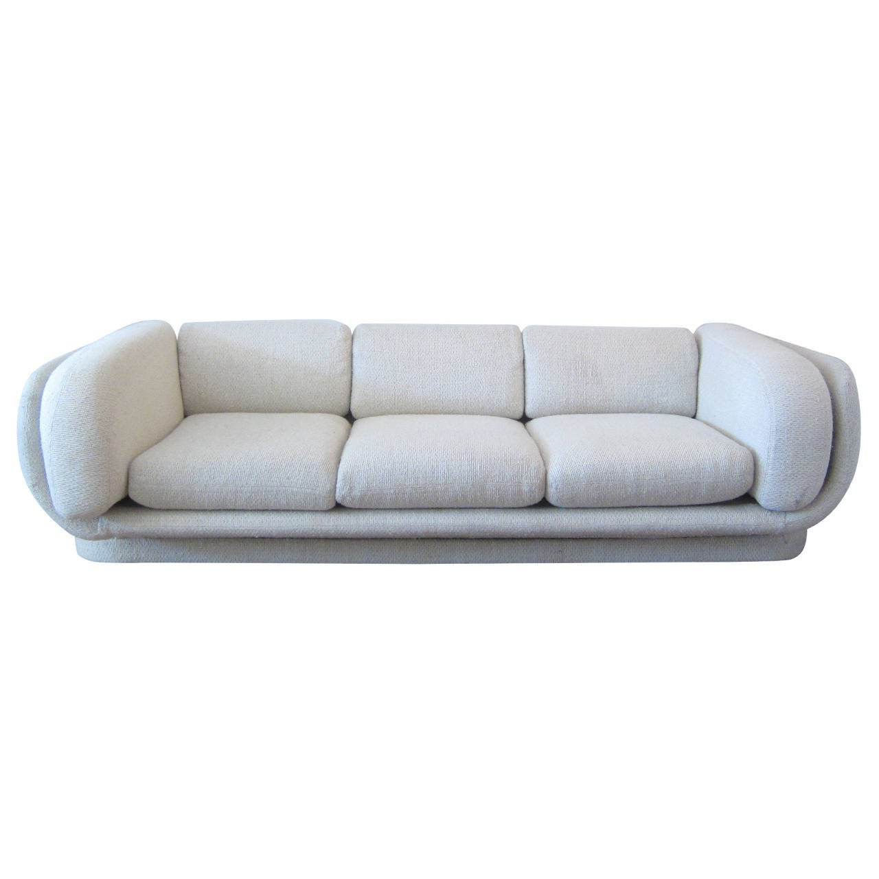 Mid century modern curved sofa with platform base at 1stdibs Curved loveseat sofa