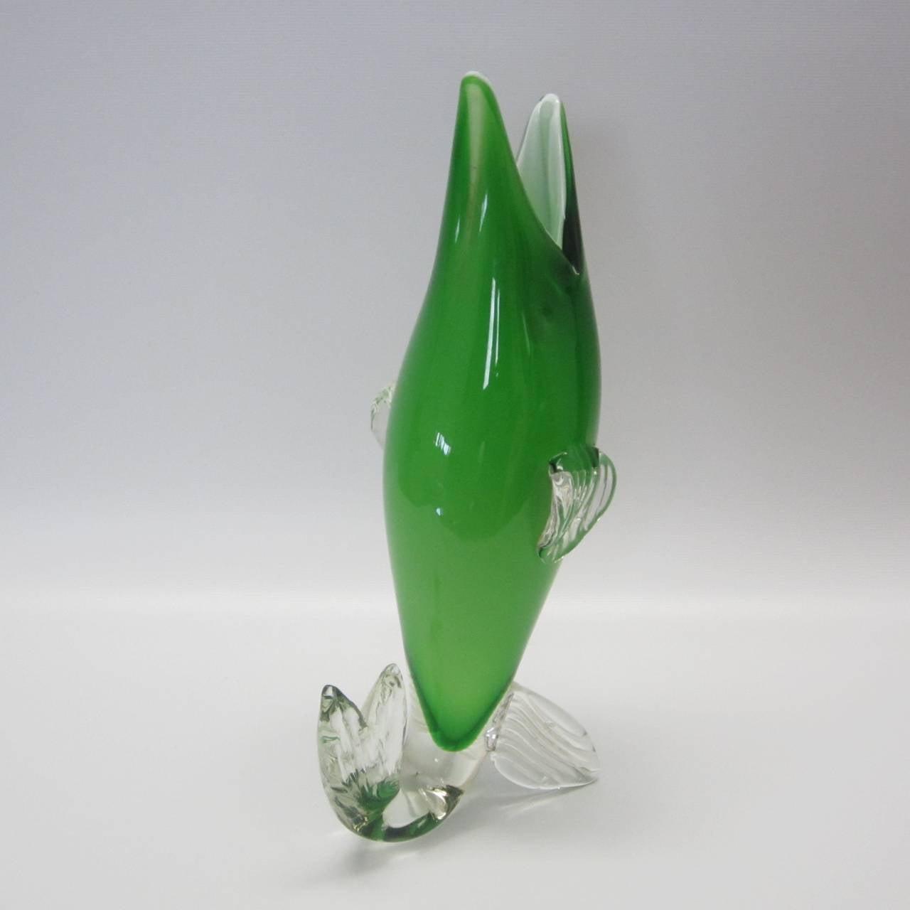 Murano glass green fish vase at 1stdibs for Murano glass fish