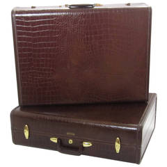 Pair of Crocodile-Embossed Leather Suitcases