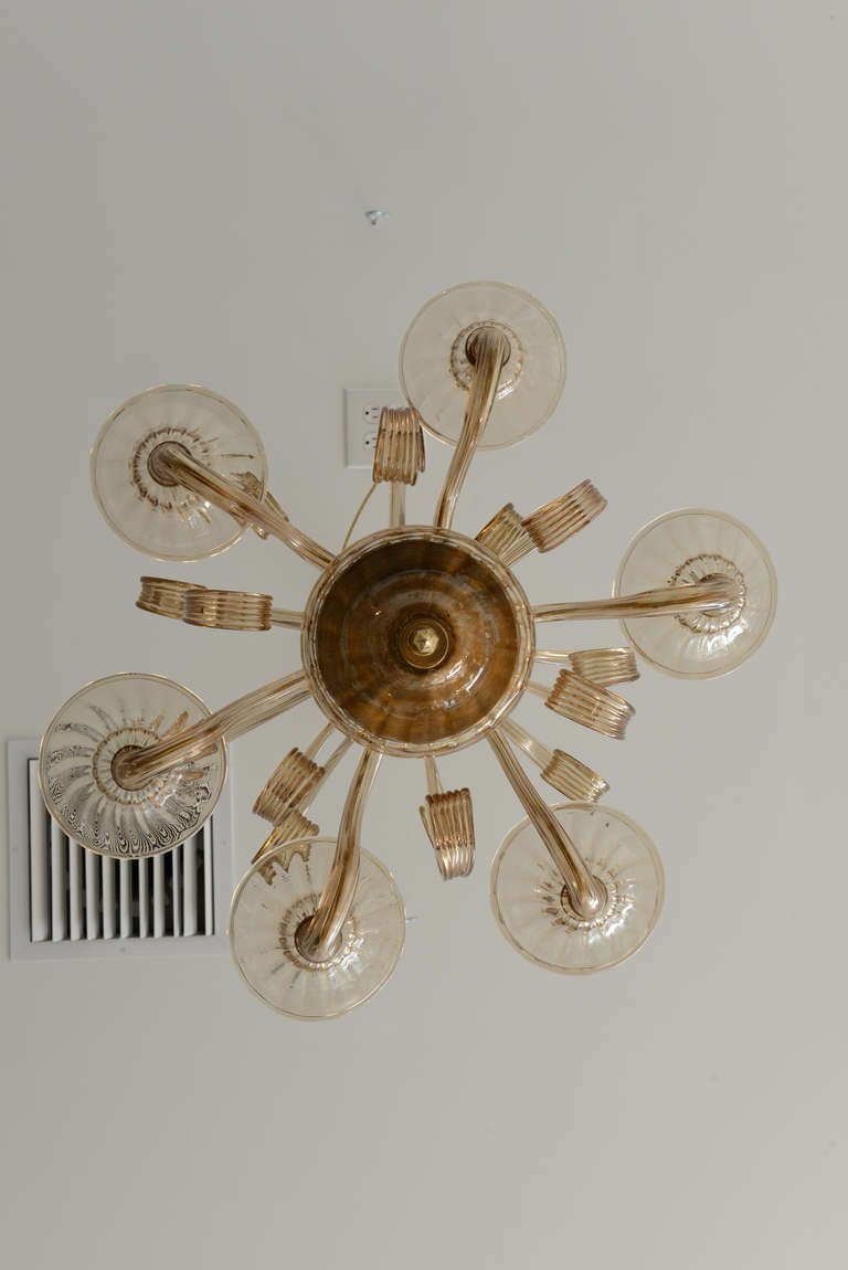 Mid Century Murano Hand Blown Multi Arm Glass Chandelier
