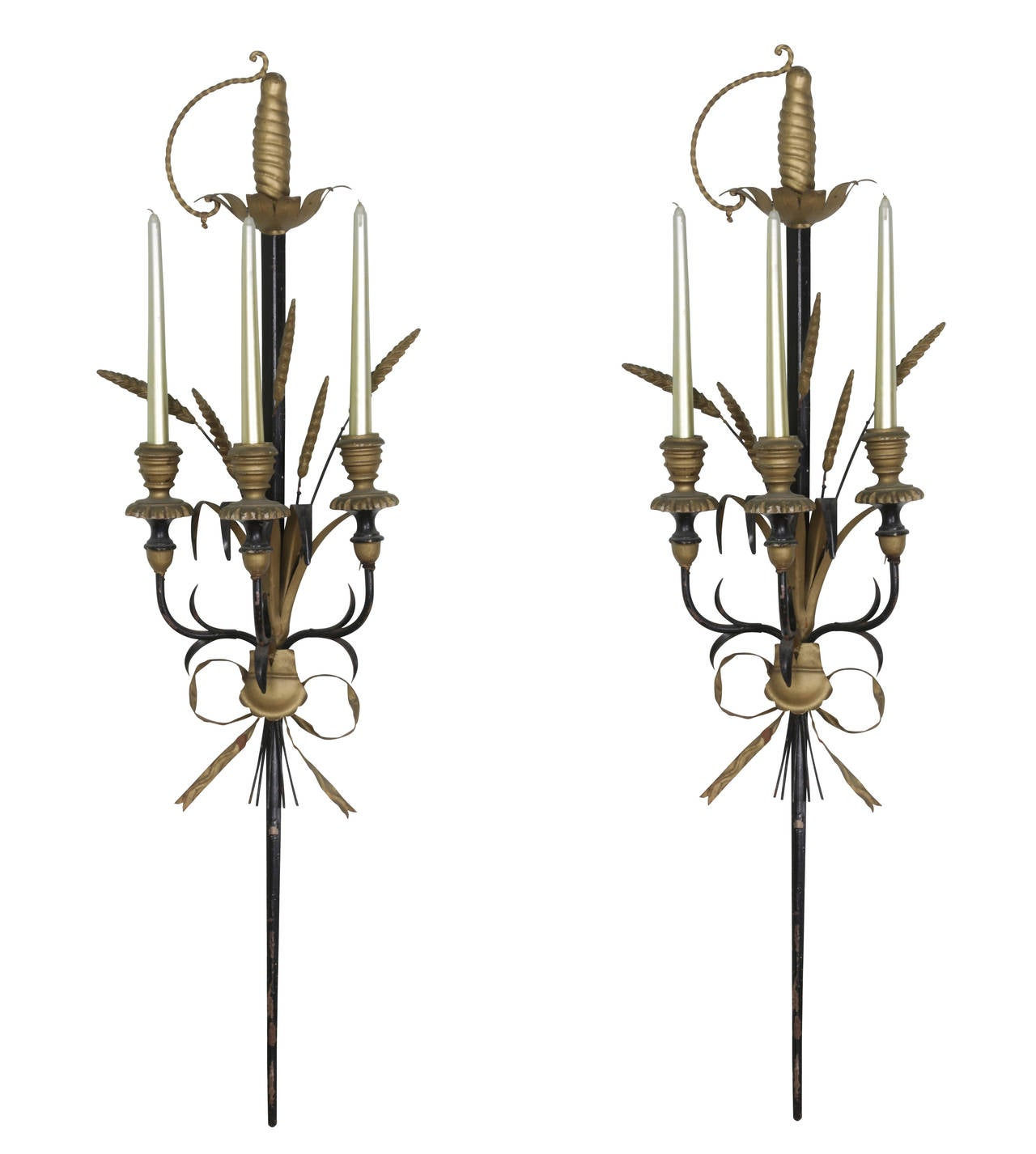 Pair of Italian Tole and Wood Candle Sconces