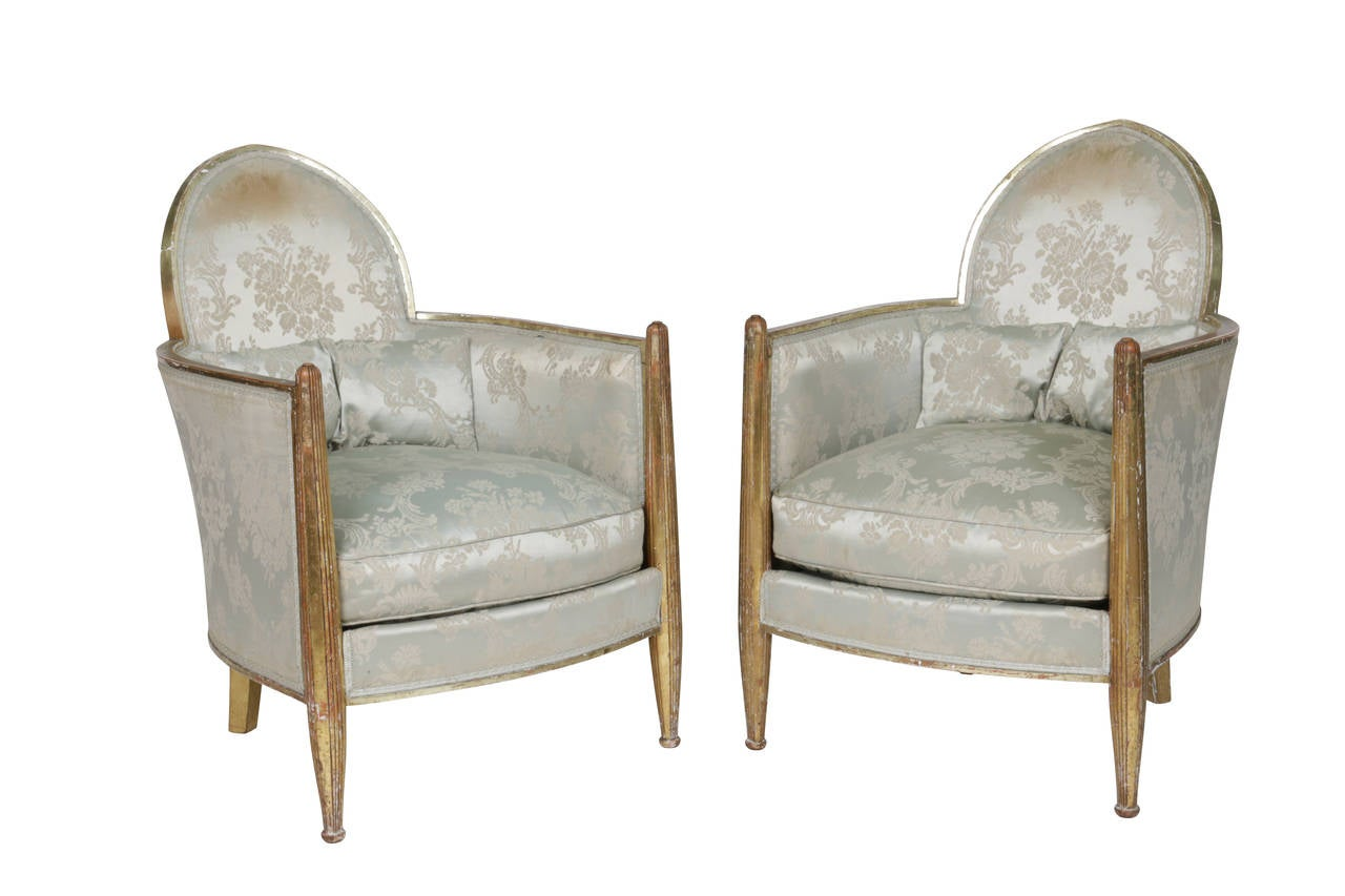 Original Matched Pair French Art Deco Club Chairs by Paul Follot, France, 1930s For Sale 4