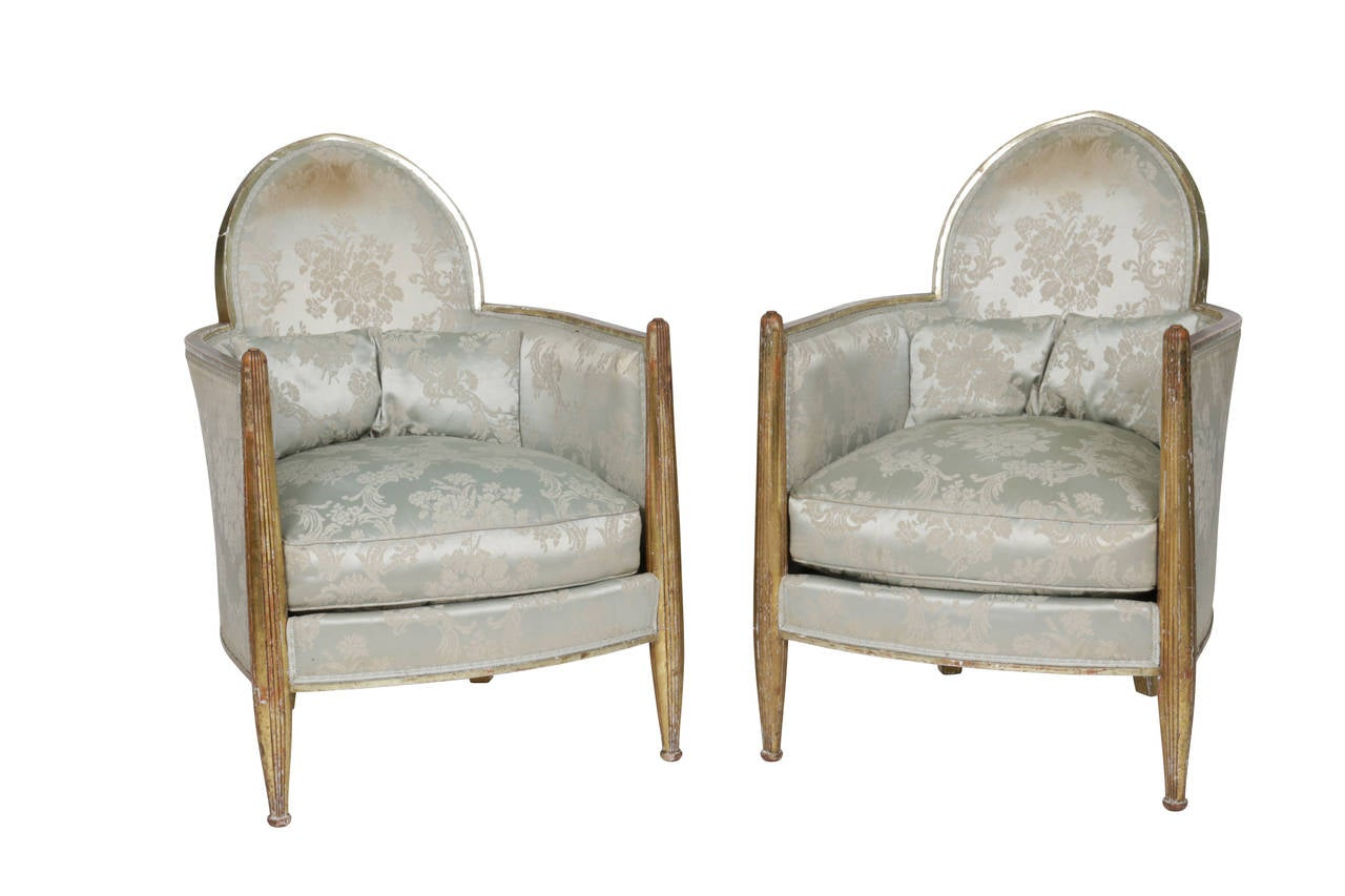 Original Matched Pair French Art Deco Club Chairs by Paul Follot, France, 1930s For Sale 1