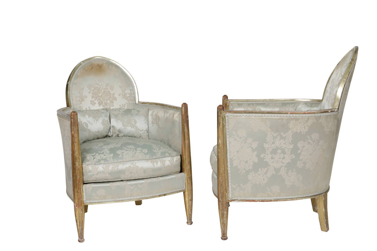 Original French Art Deco Club Chairs by Paul Follot, France, 1930s 8