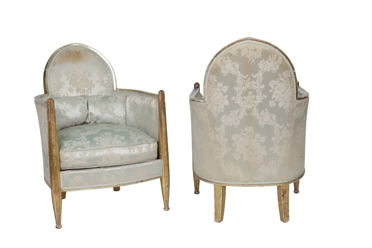 Original Matched Pair French Art Deco Club Chairs by Paul Follot, France, 1930s For Sale 2
