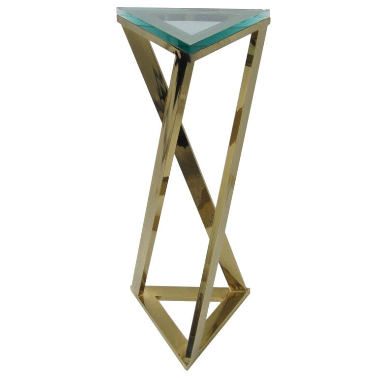 Tall Brass Turned Triangular Pedestal Table with Glass Top at 1stdibs