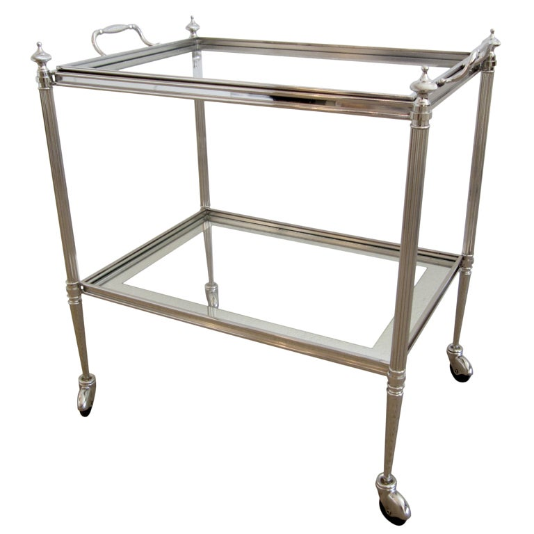 French Nickeled Rolling Bar Cart With Detached Serving