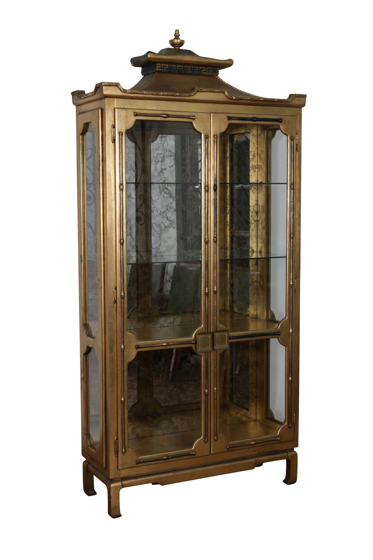 Gilded Pagoda Display Cabinet In The Manner Of James Mont