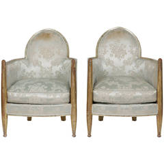 Original Matched Pair French Art Deco Club Chairs by Paul Follot, France, 1930s