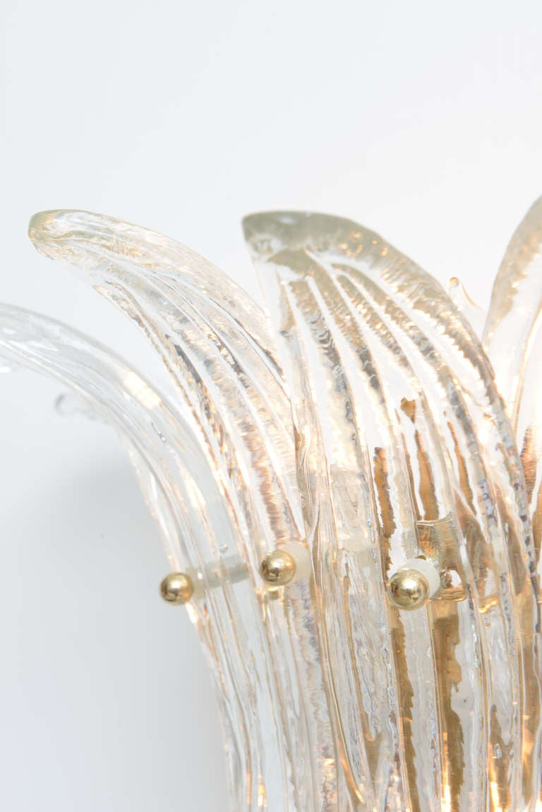 Wall Sconces Hand Blown Glass : Pair of Hand Blown Murano Glass Palmette Crown Wall Sconces at 1stdibs