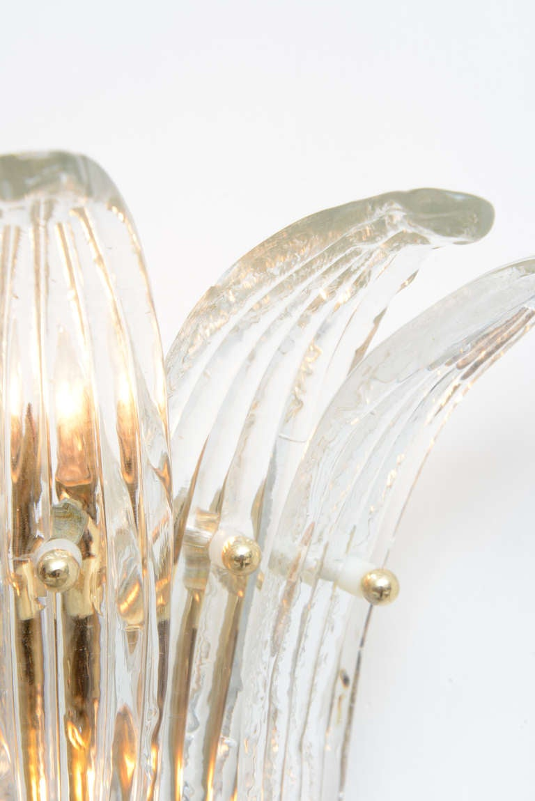 Wall Sconces Blown Glass : Pair of Hand Blown Murano Glass Palmette Crown Wall Sconces at 1stdibs
