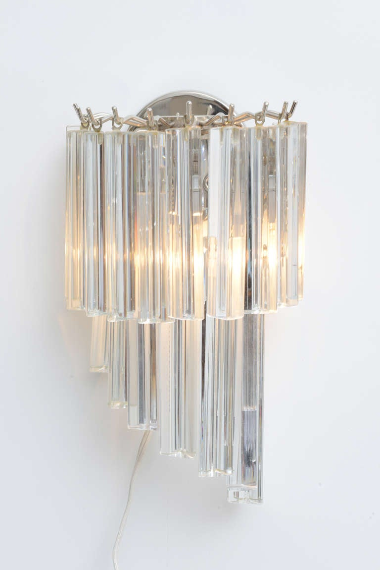 Pair of Mid Century Venini Murano Crystal Prism Wall Sconces at 1stdibs