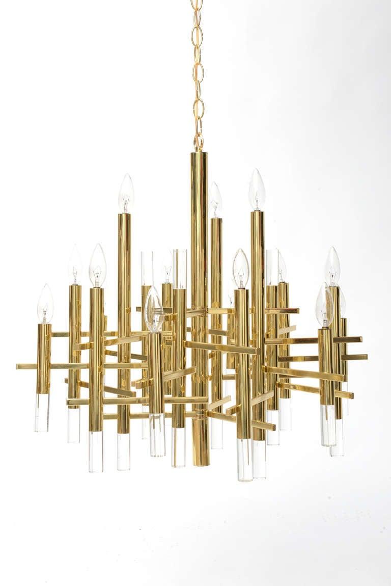 Gaetano Sciolari Large Brass & Lucite Constructivist Chandelier 2