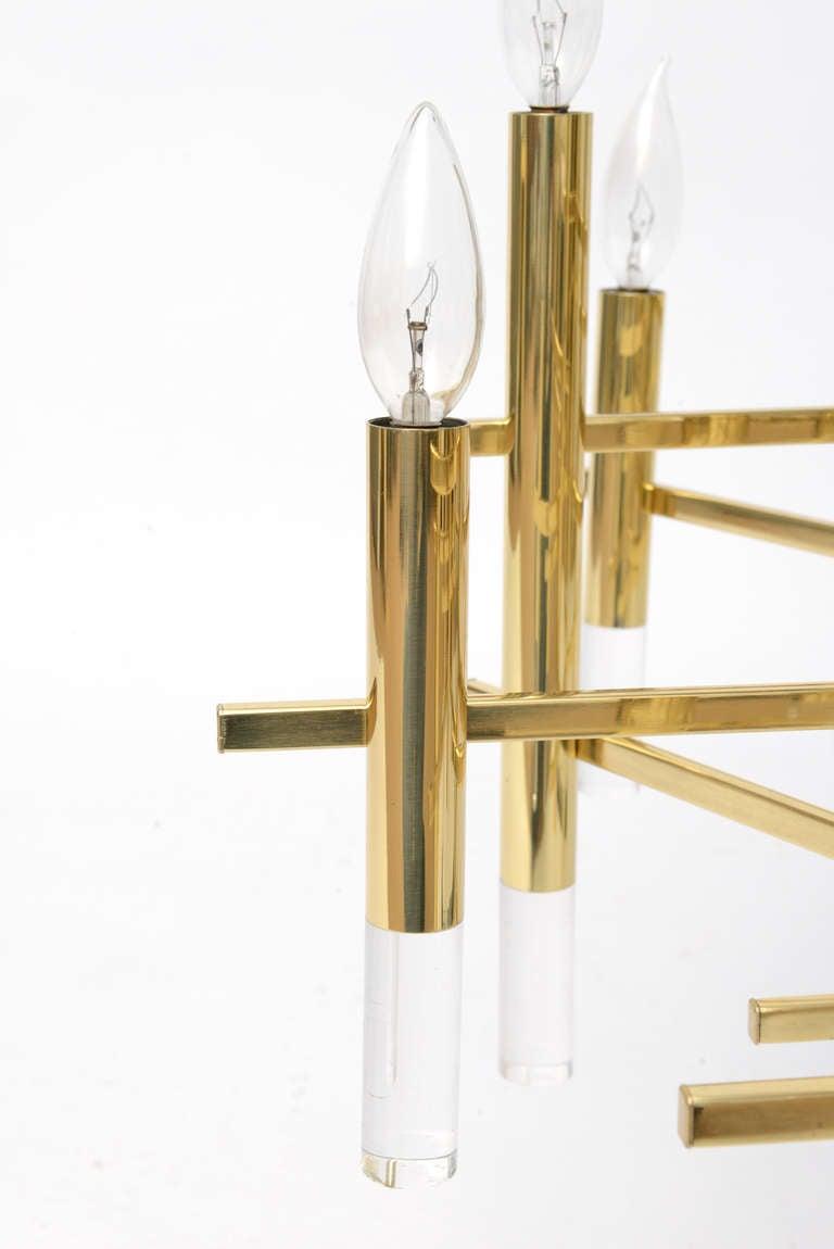 Gaetano Sciolari Large Brass & Lucite Constructivist Chandelier 4