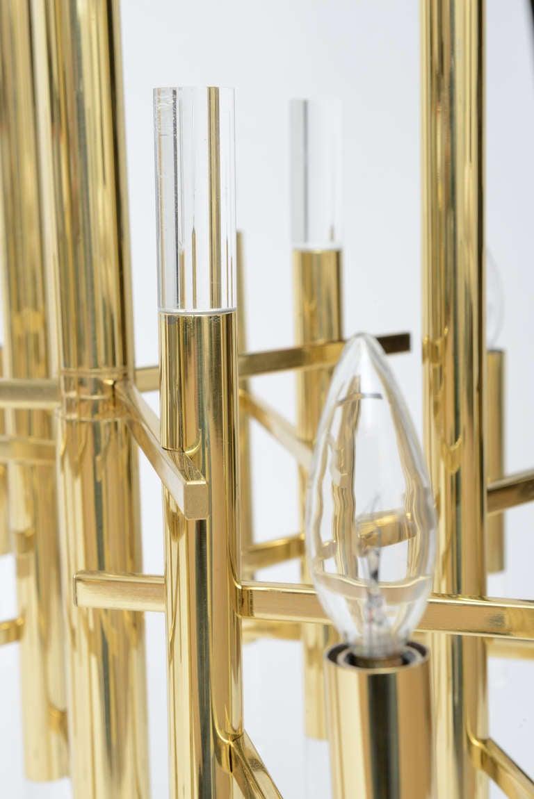 Gaetano Sciolari Large Brass & Lucite Constructivist Chandelier 5