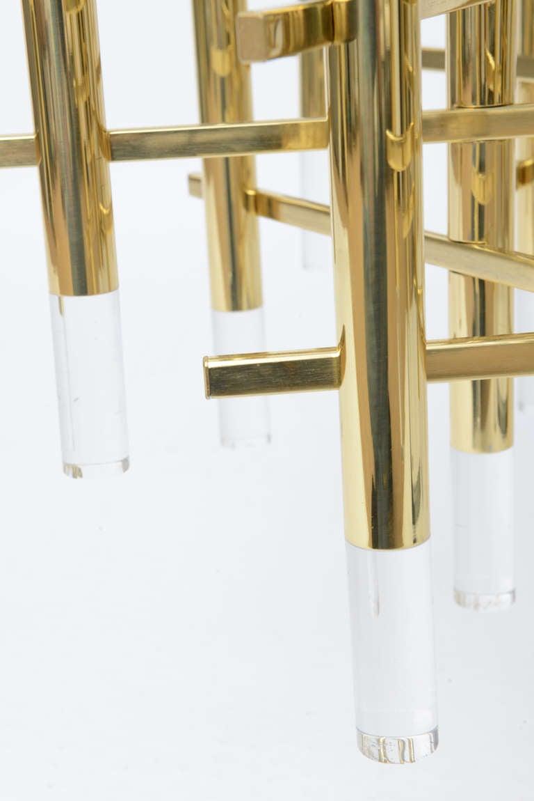 Gaetano Sciolari Large Brass & Lucite Constructivist Chandelier 6