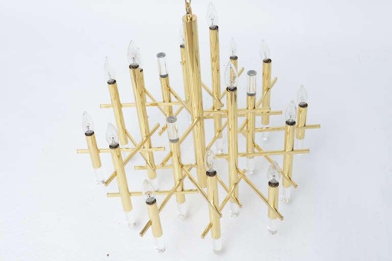 Gaetano Sciolari Large Brass & Lucite Constructivist Chandelier 8