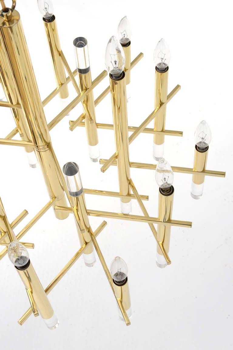 Gaetano Sciolari Large Brass & Lucite Constructivist Chandelier 9