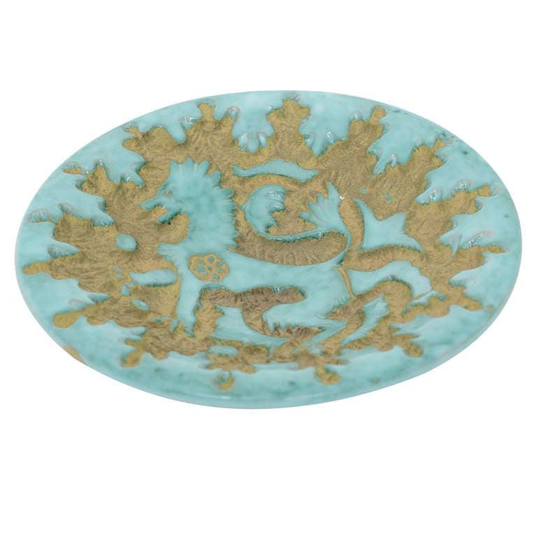 Italian Ceramic Griffin Design Dish, circa 1950s