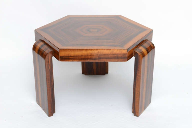 Wood Waterfall Leg Hexagonal Art Deco Side Table 2