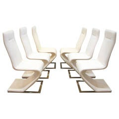 Original Cantilevered Chairs with Steel Bases by Roger Rougier