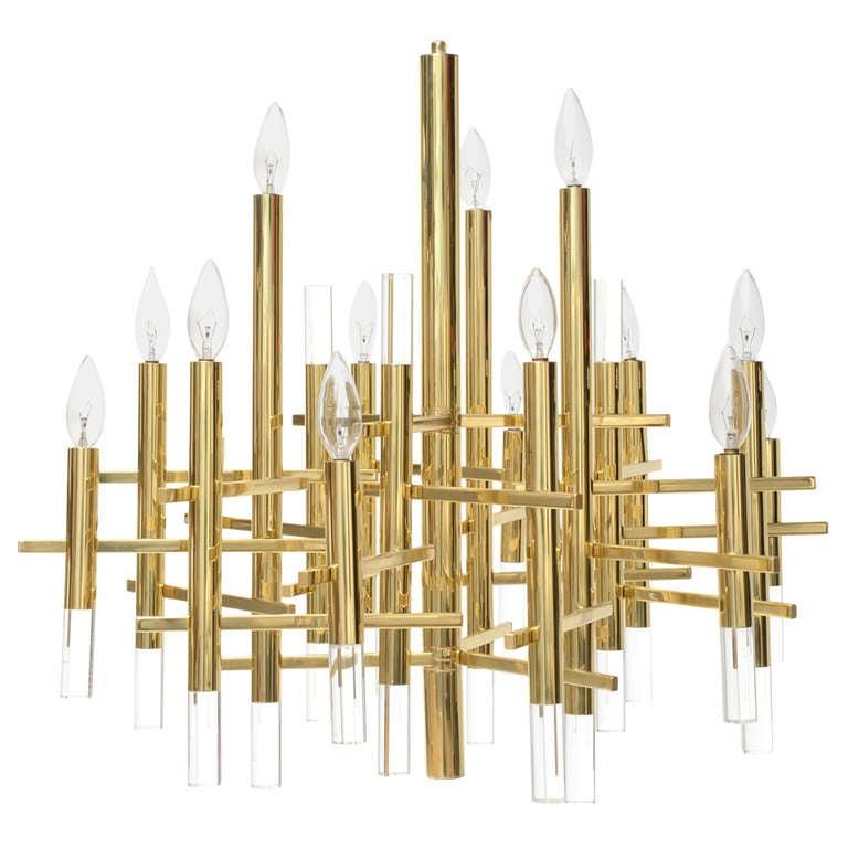 Gaetano Sciolari Large Brass & Lucite Constructivist Chandelier 1