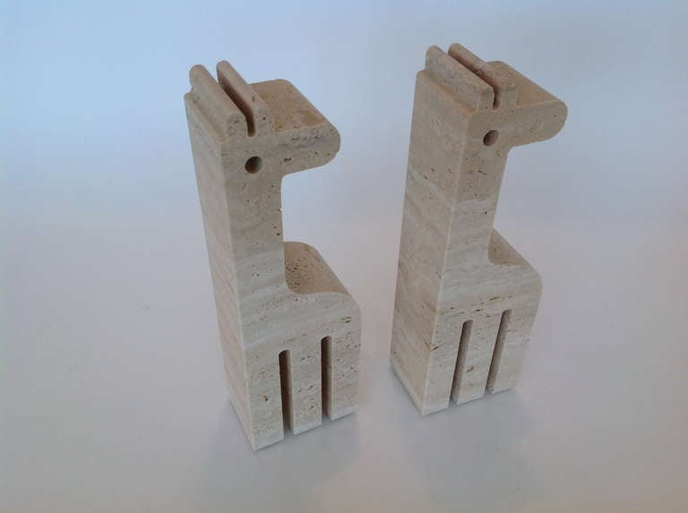 Pair of Italian Carved Travertine Giraffe Bookends by Fili Mannelli for Raymor image 6