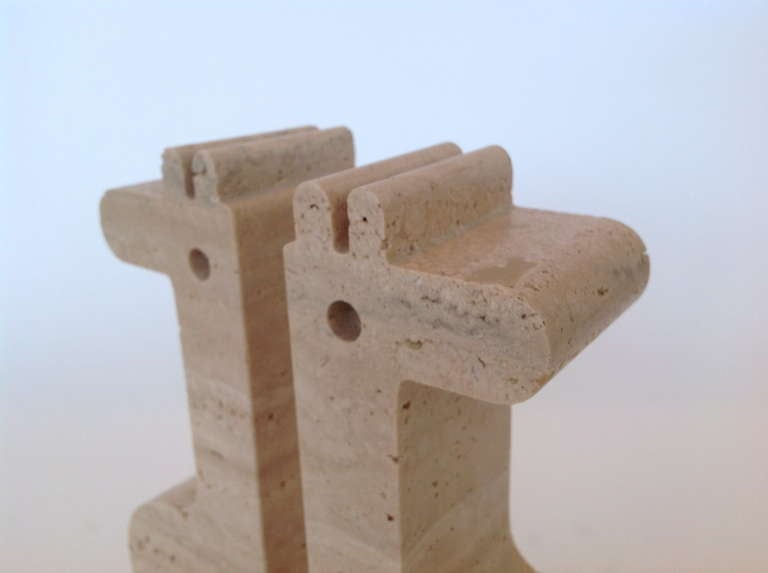 Pair of Italian Carved Travertine Giraffe Bookends by Fili Mannelli for Raymor image 9