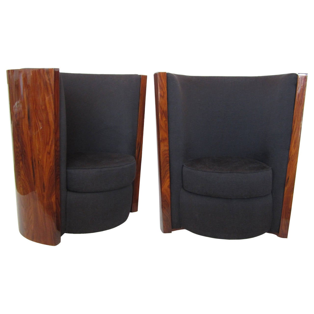 Pair Of Curved High Back Cherrywood Art Deco Style Chairs