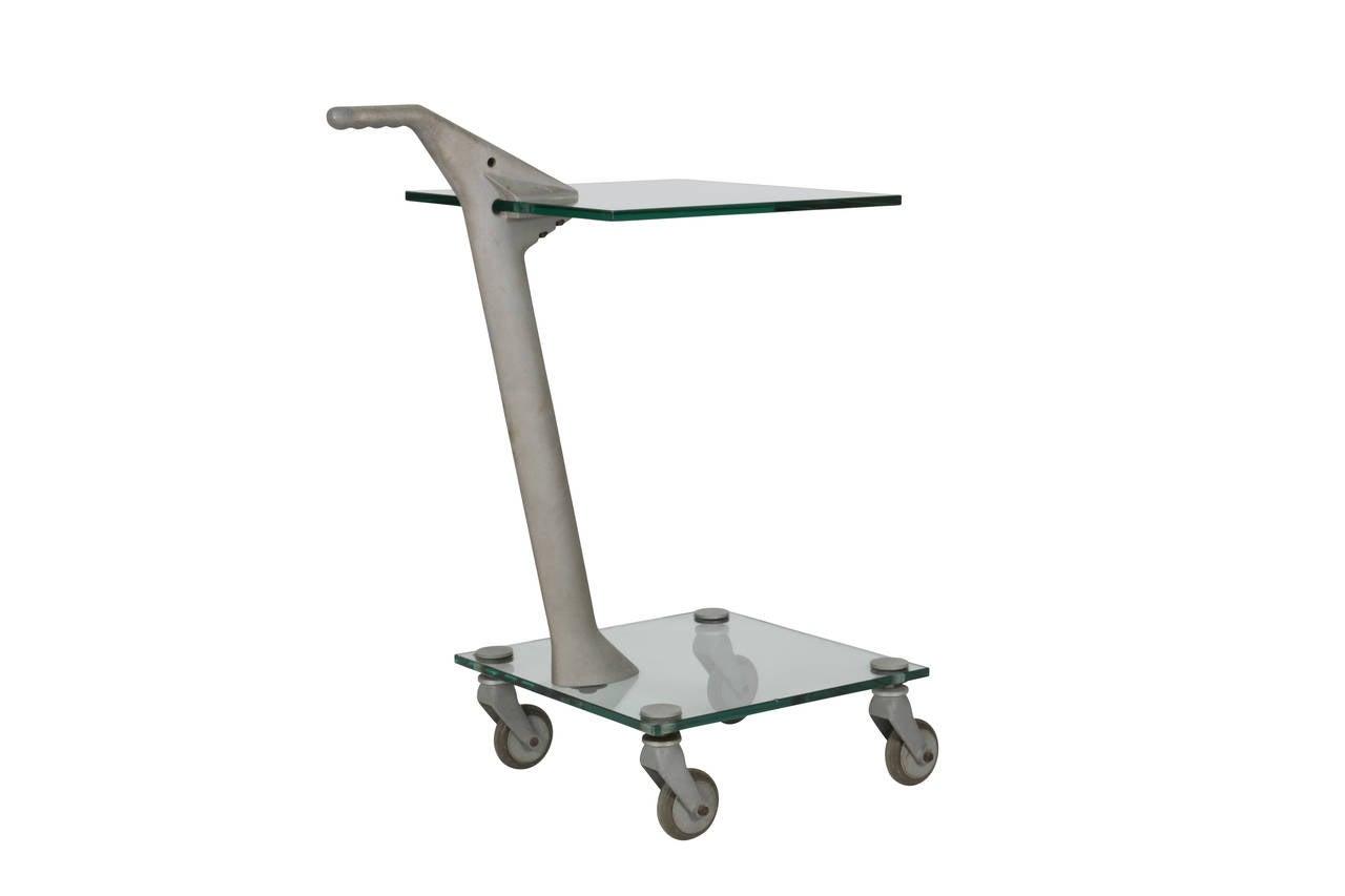 Italian Fontana Arte Two-Tier Rolling Table For Sale