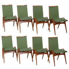 Set of Eight Carlo de Carli Style Pear-Wood Dining Chairs, Italy, 195