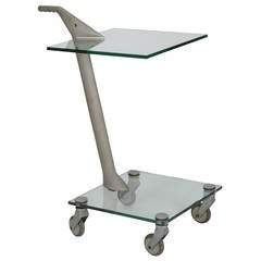 Fontana Arte High-Tech Two-Tier Rolling Table, Memphis Period