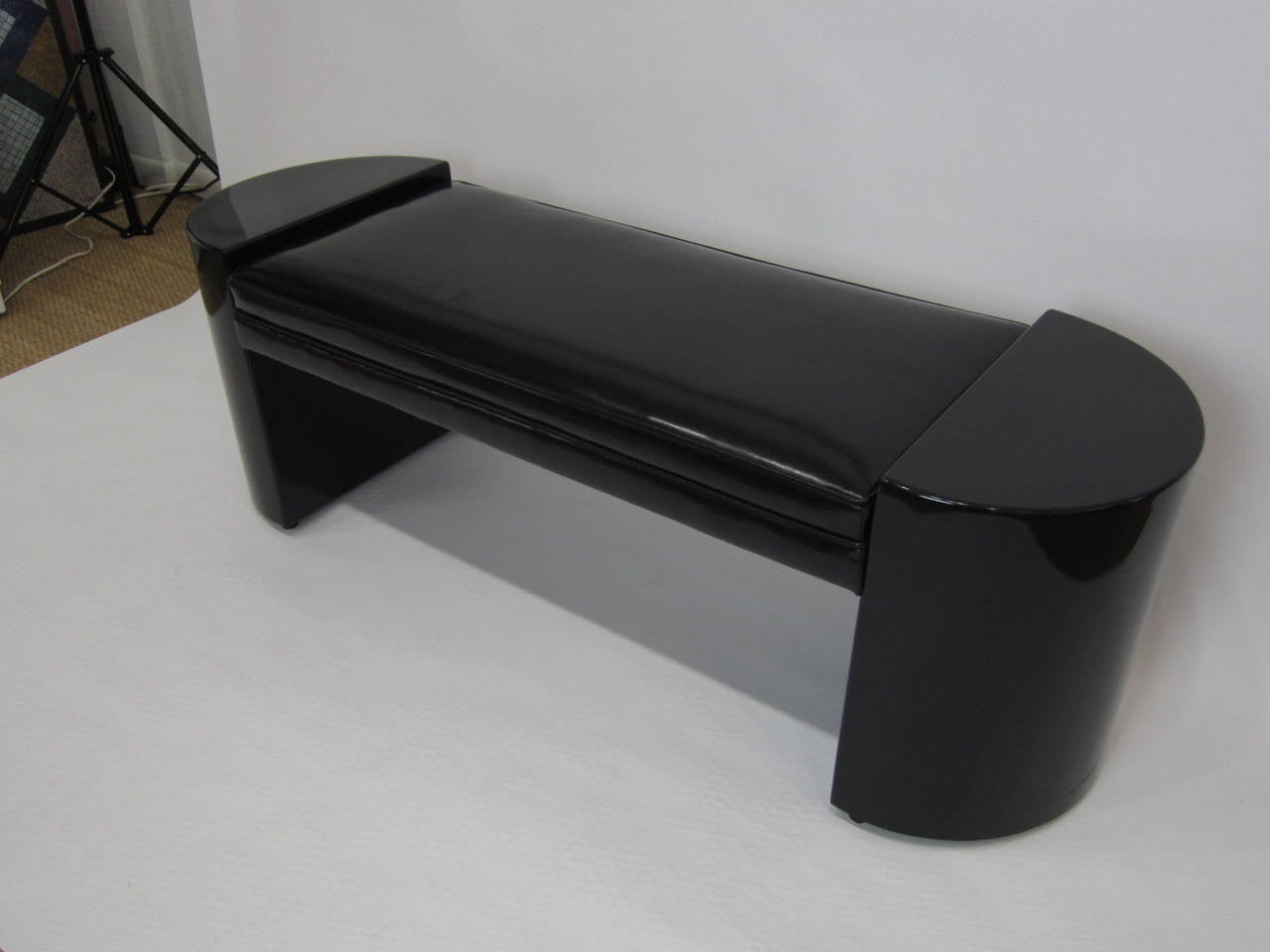 Bench In Black Patent Leather And Black Lacquer At 1stdibs