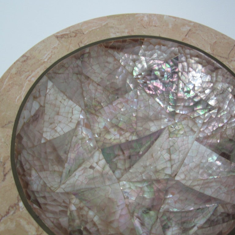 Maitland Smith Tessellated Marble And Mother Of Pearl Dish