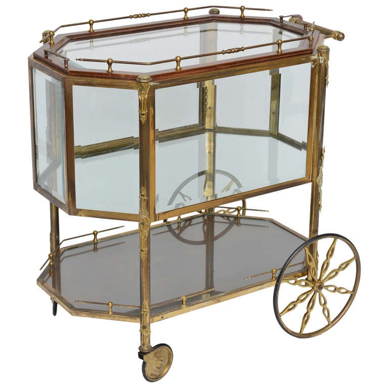 French Bronze And Glass Bar Cart Ca 1940 39 S At 1stdibs