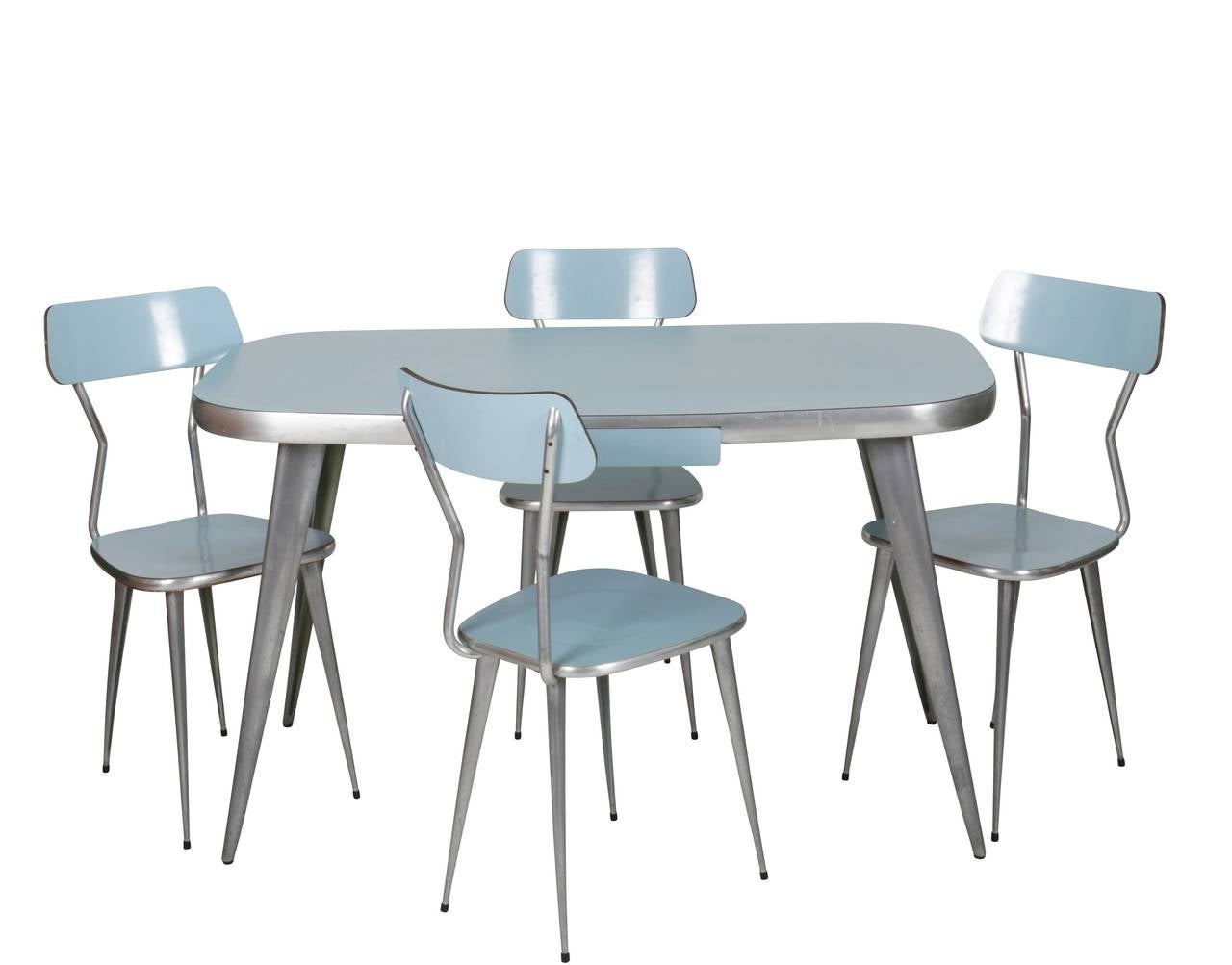 race aluminum and powder blue laminate dining set for sale at 1stdibs