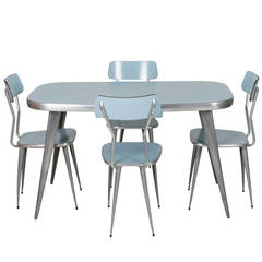 Ernest Race Rare Aluminum and Powder Blue Laminate Dining Set