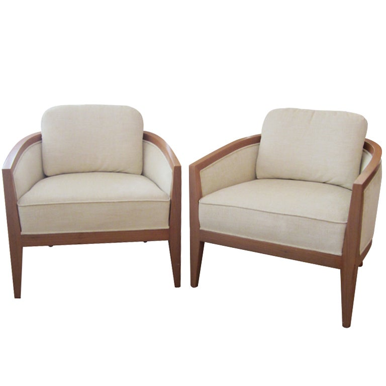 Pair of Mid Century Curved Back Lounge Chairs at 1stdibs