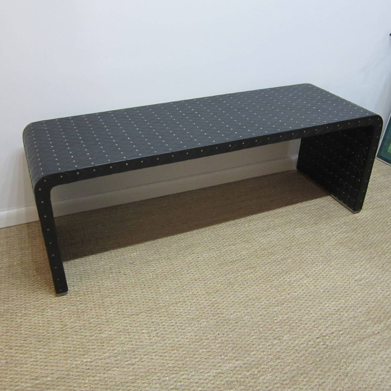 Woven Leather Studded Bench By Larry Laslo At 1stdibs