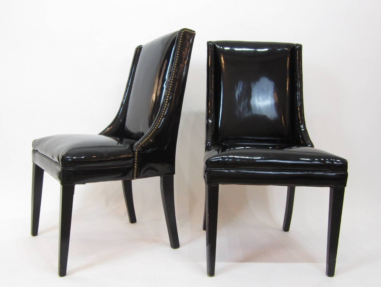 Pair Of Mid Century Patent Leather Chairs With Brass Tacks
