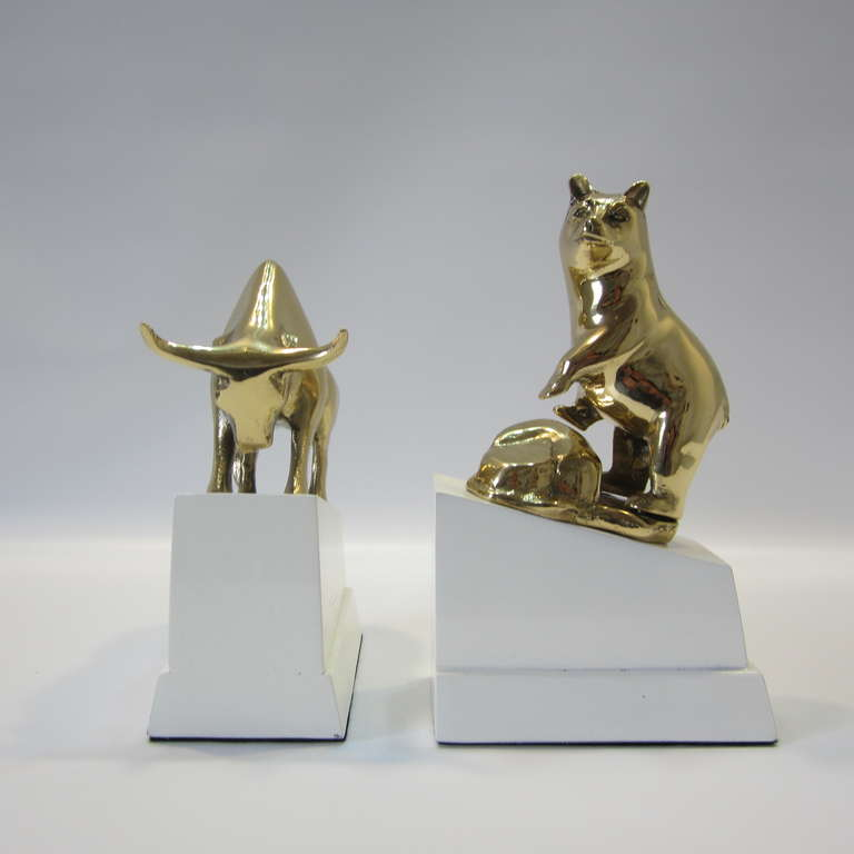 Polished Brass Bull And Bear Bookends On Lacquered Blocks For Sale At 1stdibs