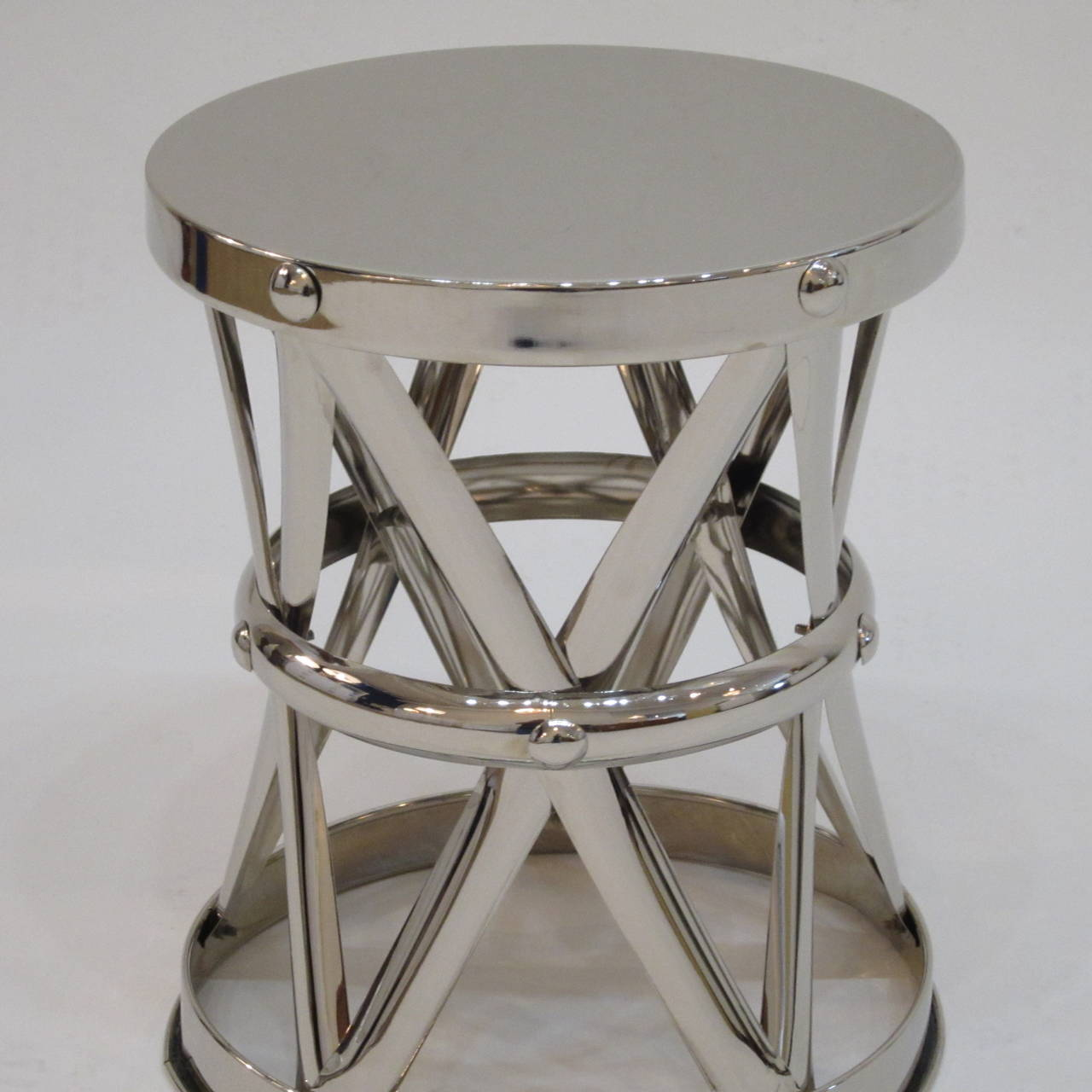 American Nickel X-Frame Garden Stool/ Side Table  For Sale