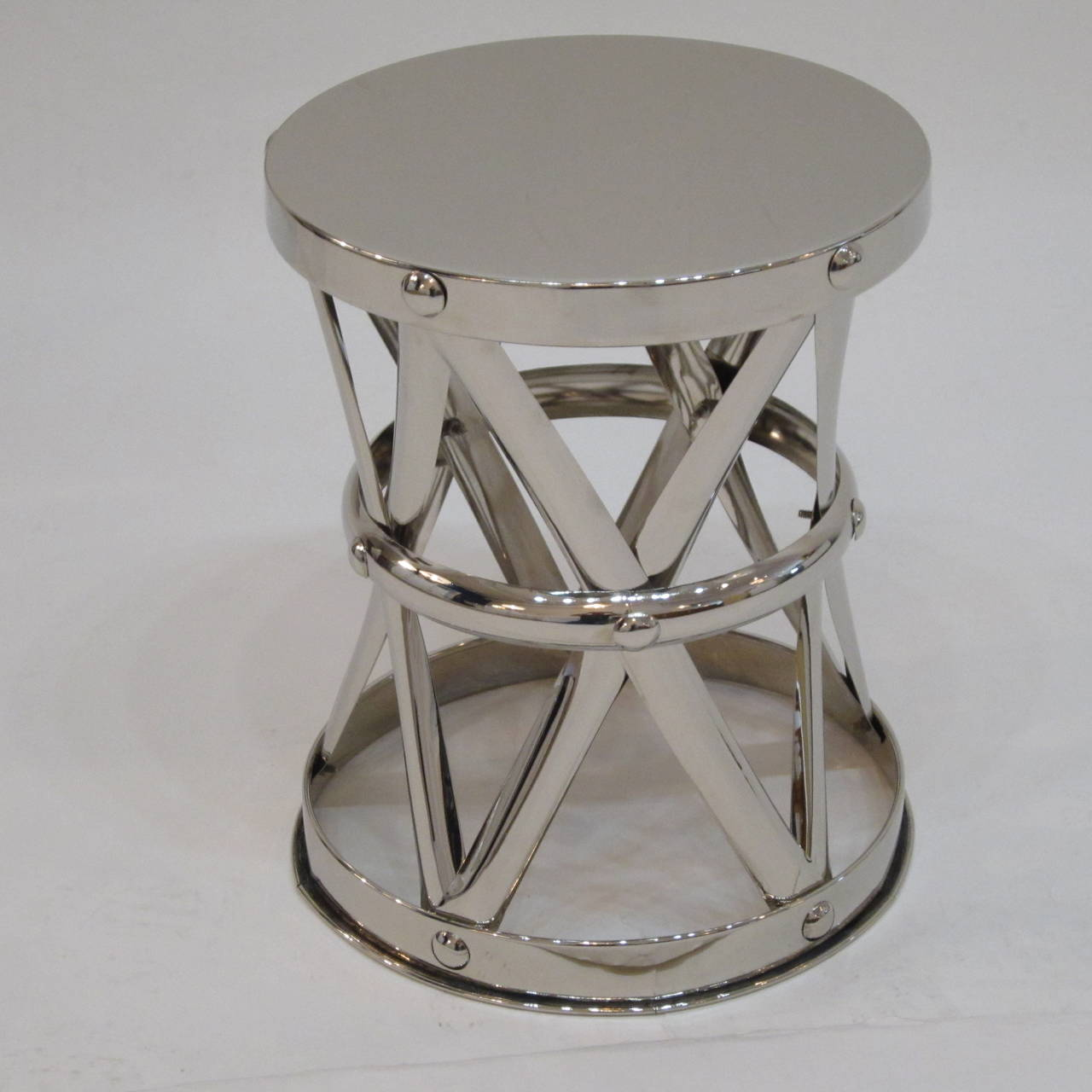 Nickel X-Frame Garden Stool/ Side Table  For Sale 1
