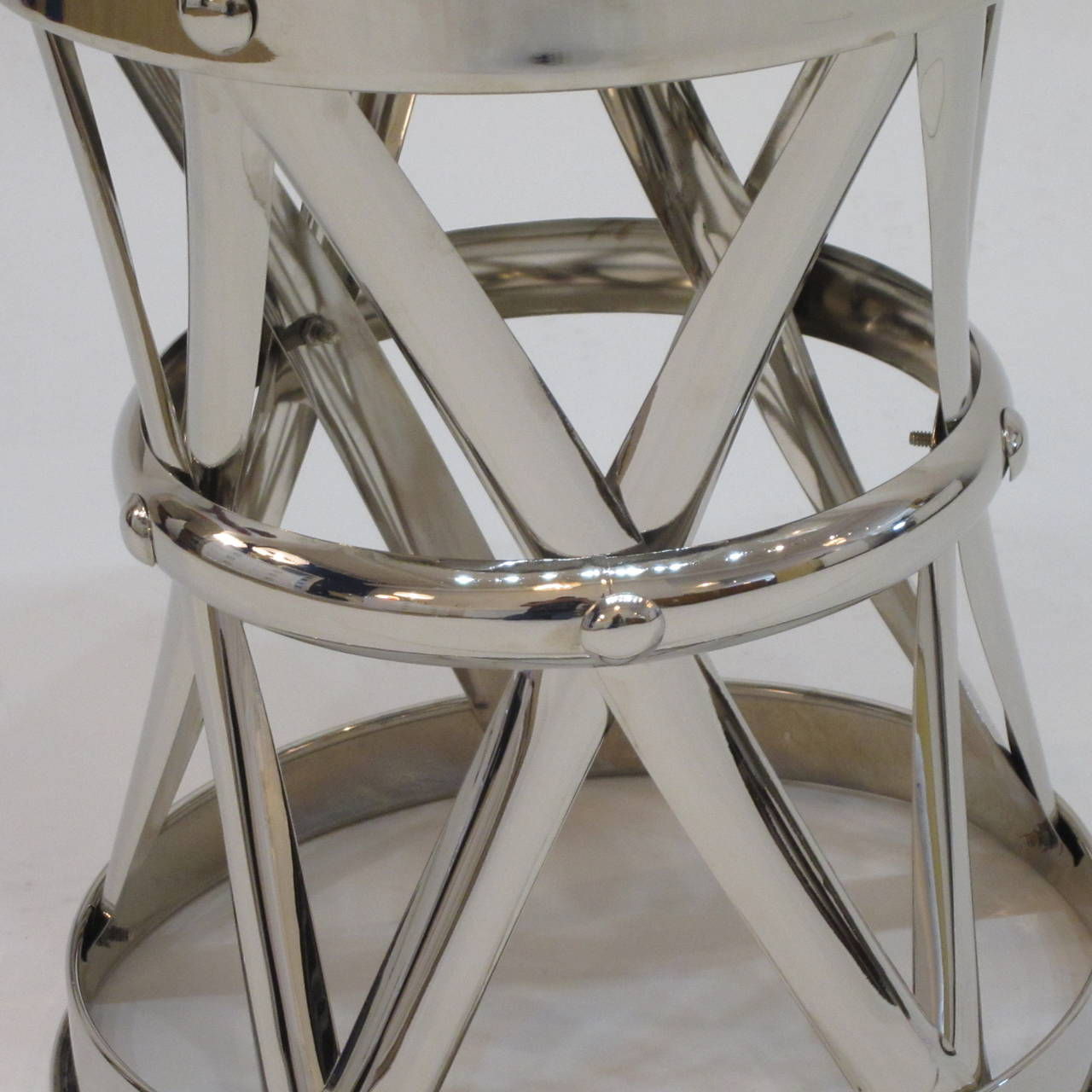Nickel X-Frame Garden Stool/ Side Table  In Good Condition For Sale In Miami, FL