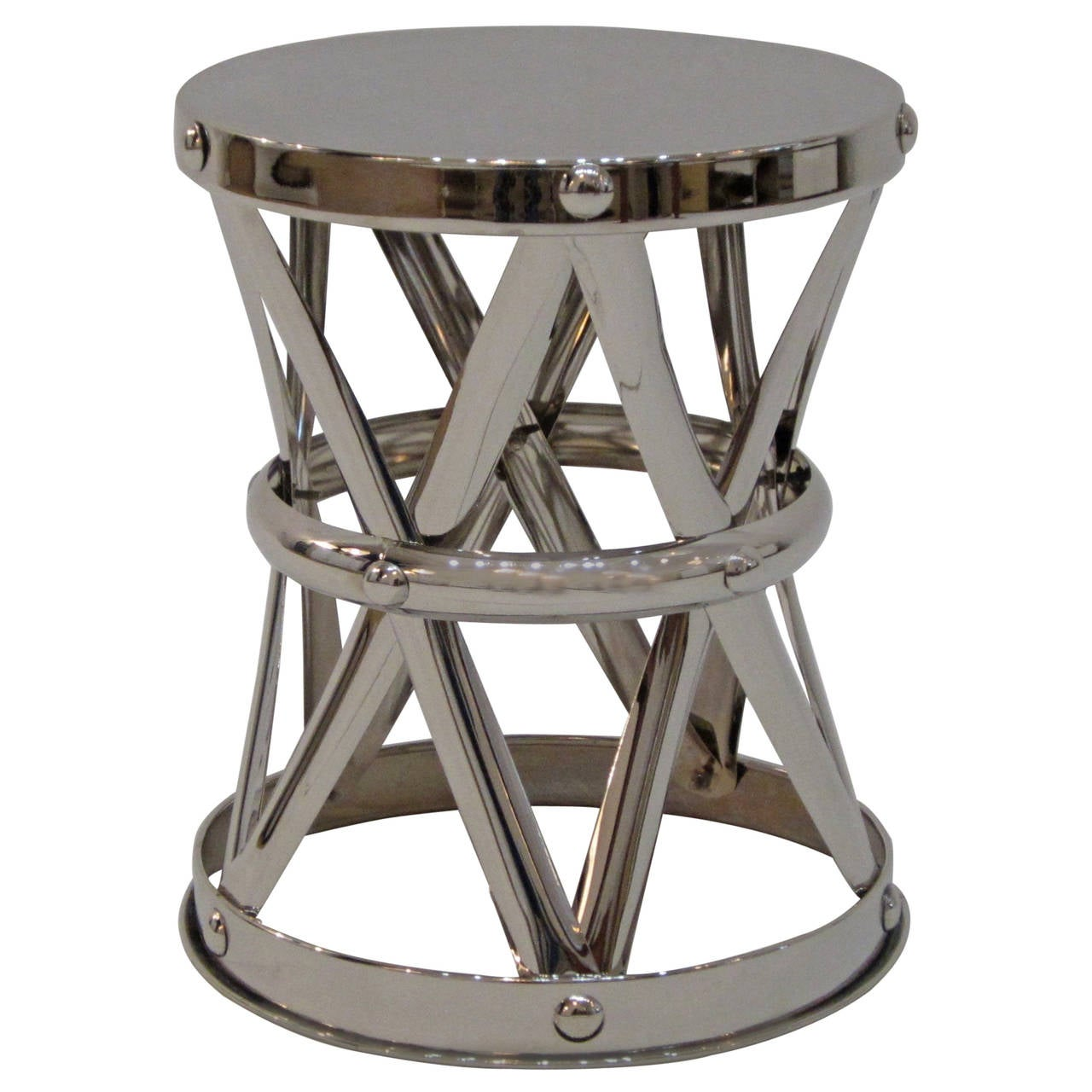 Nickel X-Frame Garden Stool/ Side Table  For Sale