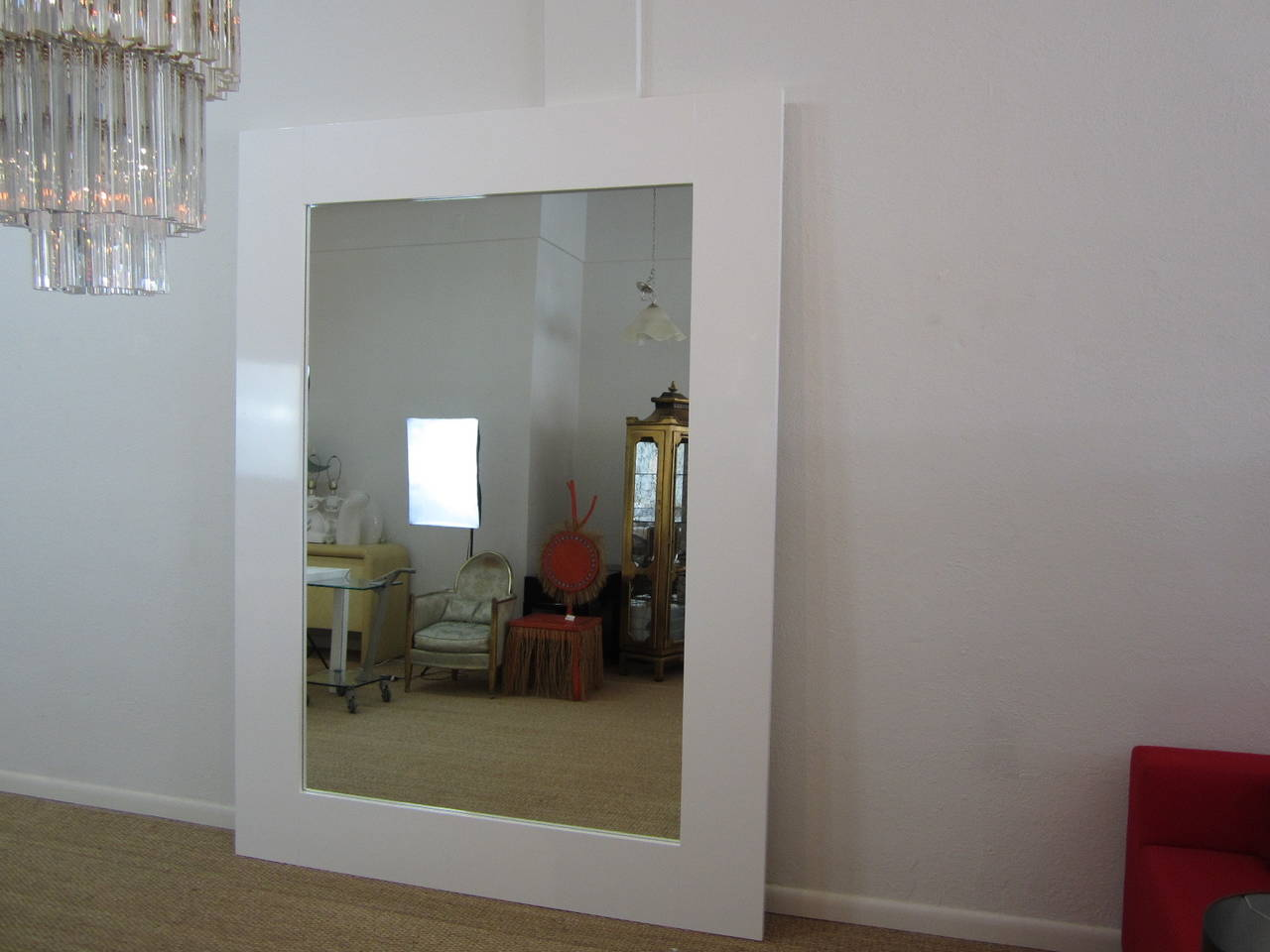 Fantastic Large Floor Standing Mirror In White Lacquer At 1stdibs
