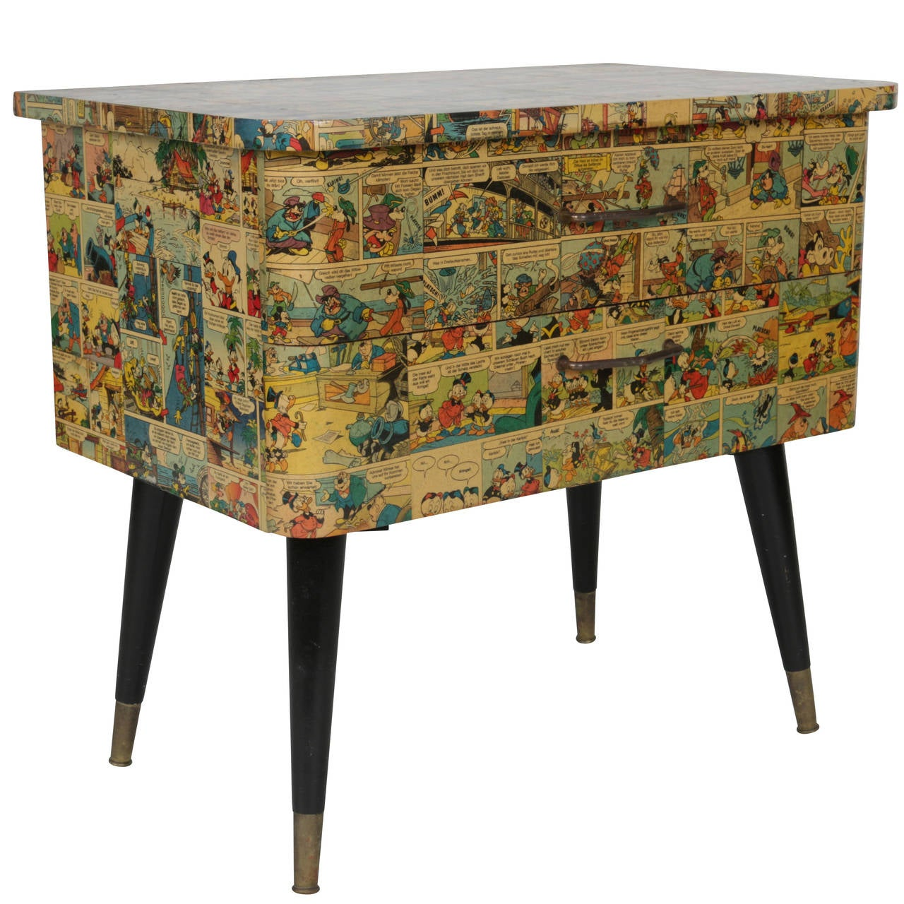 1950s two drawer chest in decoupaged german walt disney for 1 case of table paper